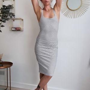 Zara bodycon midi dress with split up back. Square neckline. Size medium. Stripe